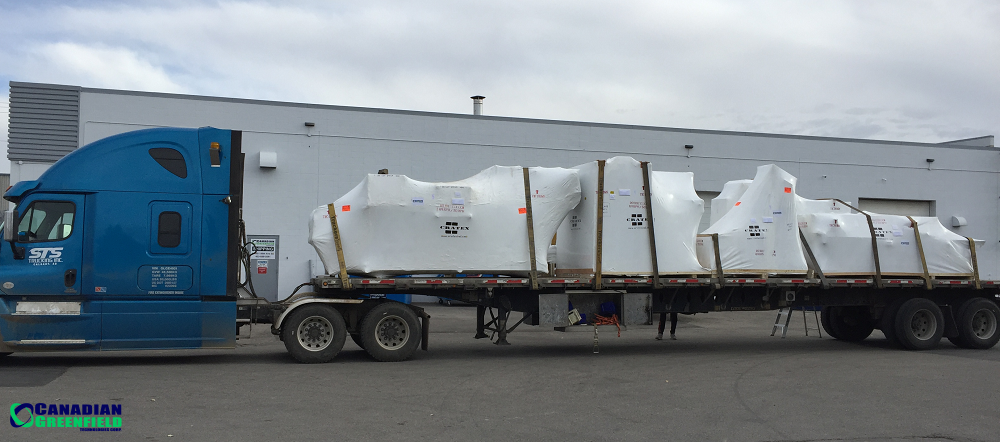 Second of two trailers: HempTrain™ requires two 48FT flatbed trailers for shipment